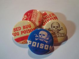 Poison label 1.5 in. pin back buttons by MermaidSoupButtons