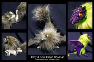 Basilisk Pair - Grey and Sour Grapes by WormsandBones