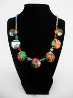 Round Beaded Polymer Necklace by Laurenry