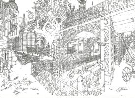 Steampunk-City lines by Clanaad
