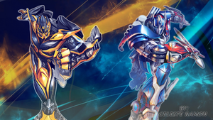 Optimus Prime and bumblebee by celtakerthebest