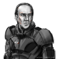 starring nic cage as cmdr shepard by rsek