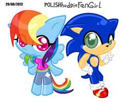 Sonicthehedgehog and RainbowDash by POLISHhedgieFanGirl