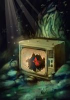 The Cardinal in the Television by lookhappy