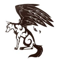 Winged Wolf Tattoo Design by TwodeeWeaver