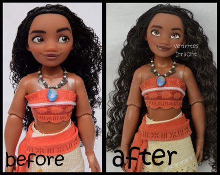 ooak repainted classic moana doll. by verirrtesIrrlicht