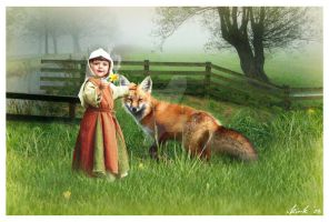 Fox and the little Girl by Toefje-Kunst