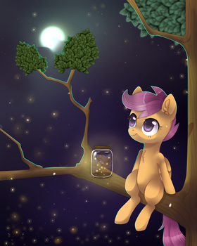 Scootaloo and fireflies by Nayra-the-Wolf