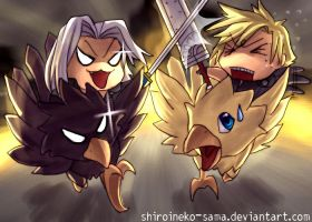 FF7AC: Battle on Chocobos by ShiroiNeko-sama