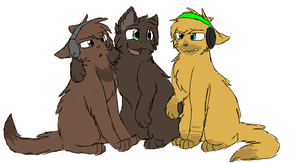 Yamimash, Briarpaw and PewDiePie by CascadingSerenity