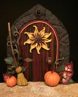 Polymer Clay Harvest Fairy Door by missfinearts