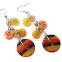 Orange+Yellow Button Earrings by fairy-cakes