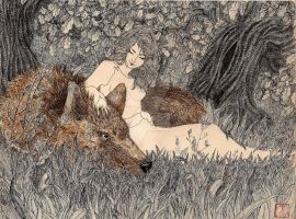 Luthien Tinuviel with Huan in Oaks grove by Implosinoatic