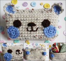 Kawaii bear crochet amigurumi coin purse purple by hellohappycrafts
