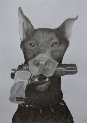 Doberman with a gun! by AngelInTheHeart