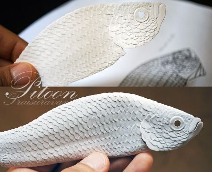 WIP Crowntail Betta fish Paper sculpture by 8thLeo