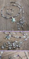 Silver and Shell Turtle Jewelry Set by Windthin