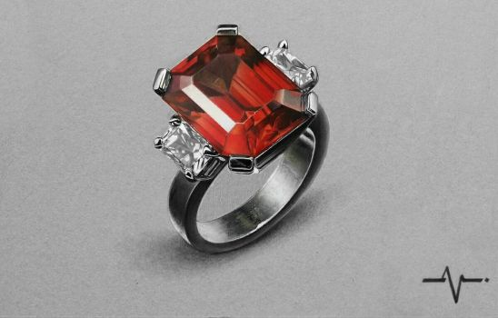 Realistic Emerald-Cut Ruby Ring - Drawing. by Anubhavg
