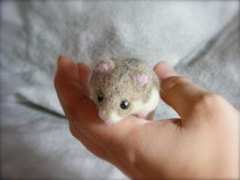 SOLD Needle Felted Dwarf Hamster Life Size by CVDart1990