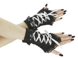 black and white fingerless gloves, wrist warmers by Eusebie