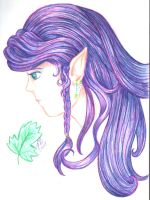 Purple-Haired Elf Chick by benwhoski