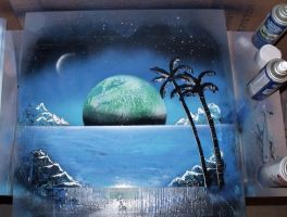 Night Palms Spray Painting by JayLatour
