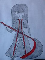 Girl and Scythe Drawing by jinxxnixx