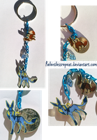 Eevee/Glaceon Evolution charms Keychain by RelentlessRepeat
