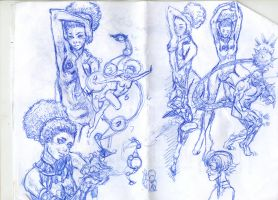 various ezerea pen sketches... by BlackZarak
