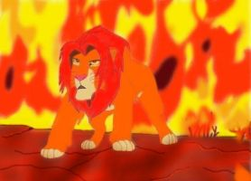 Simba_Fire by SolitaryGrayWolf