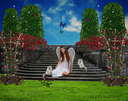 Angel-in-the-beautiful garden by AnGel-Perroni