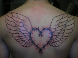 Heart of barbed wire with wings by Torsk1