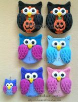 Polymer Clay: Owls by iChame