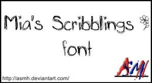 Mia's Scribblings Font by ASMH
