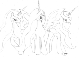 Goddess Alicorns Sketch by Brisineo