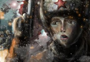 Soviet female soldier of WW2 by KensteinHansberg