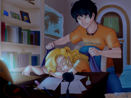 Percabeth-Working Late by MahouSakuraTenshi