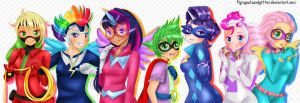 Power Ponies~ Power People? wtvr they're humanized by FlyingCatsandGlitter