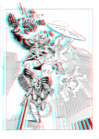 Silver Surfer and Galactus in 3D Anaglyph by xmancyclops