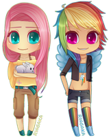 MLP:FIM chibi set [3/3] Fluttershy|Rainbow Dash by Ringamon