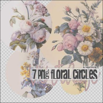 7 Png Floral Circles by mylightbluesky