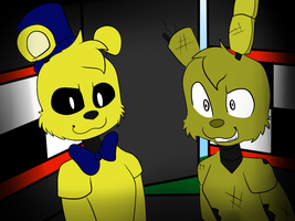 Golden Freddy and Springtrap by EllaEllyLove