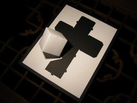 Paper Cut-Out Cross and Cube by Praze