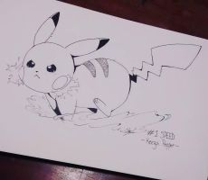 Inktober day 1: Pikachu! by KeezaPepper