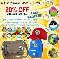 20% OFF!! Birdie key chains and buttons! by emmil