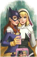 Batgirl and SpiderGwen by chrissie-zullo