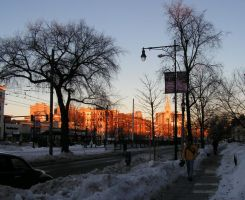 Beacon Street Sunset in Winter by assiduous1
