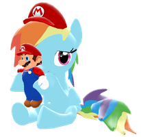 Rainbow Dash with a Mario Doll by IcePony64
