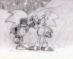 Sonic's first Clone encounter..Sliver Sonic by ClassicSonicSatAm