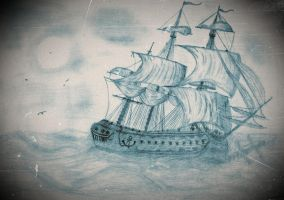 Ship in waves by Ana-starsia